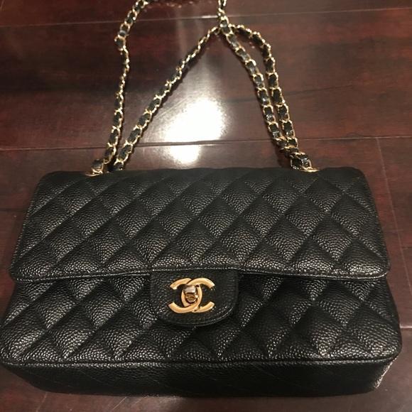 CHANEL Handbags - Vintage Chanel 2.55 Caviar Gold Chain handbag da339f1e61c24